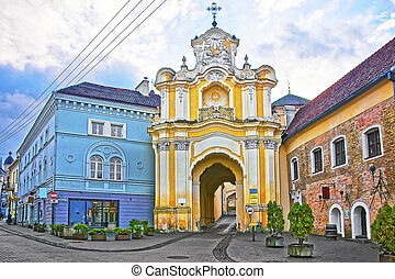 Basilian monastery gate in the Old Town of Vilnius in Lithuania