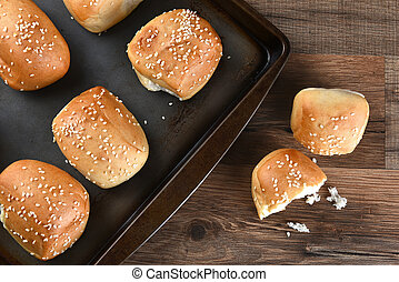 Sesame Seed Rolls - High angle view of fresh baked sesame...