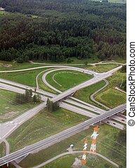 Highway junction aerial