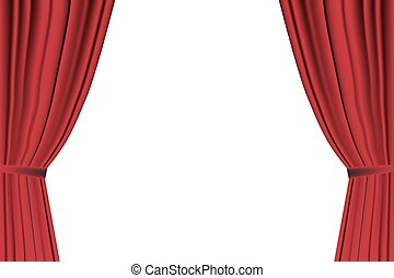 Red curtain opened on white background. - Red curtain opened...