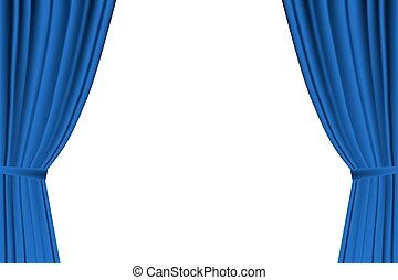 Blue curtain opened on white background Vector...