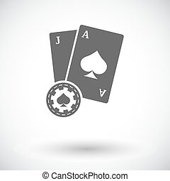 Blackjack Single flat icon on white background Vector...