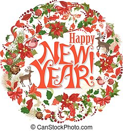 happy new year lettering design. circle floral pattern with pine