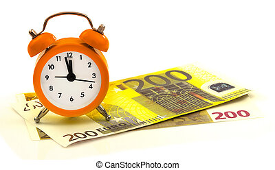 Alarm clock with paper money, 200 euro isolated on white...