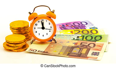 Alarm clock with paper euro money and gold coins isolated on...