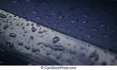 Waterdrops Falling On Hood of Car - Waterdrops Falling On...