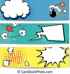 Comic speech bubble web header set with Explosion - banner...