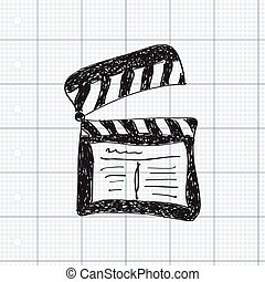 Simple doodle of a clap board - Simple hand drawn doodle of...