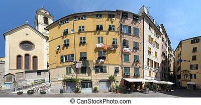 Genoa panorama - Panorama of old town of Genoa, Italy