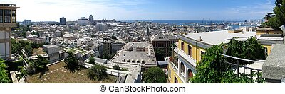 Genoa panorama - Aerial panorama of old town and walls of...