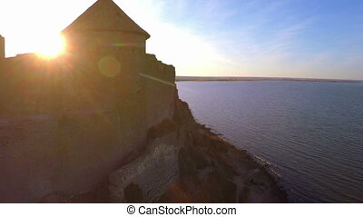 Old Fortres at Sunset. - Aerial View. Ancient fortres in...