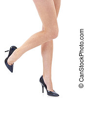 legs in black shoes - Beautiful legs in black shoes isolated...