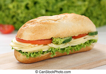 Sub deli sandwich baguette with cheese, tomatoes and lettuce