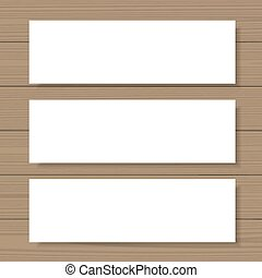 Blank banners mock up set on wooden background Web,...
