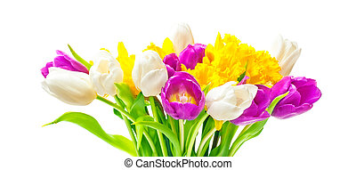 Daffodils, tulips, Easter bouquet