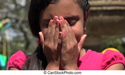 Teen Girl Crying at Public Park