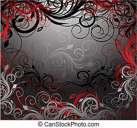 Vector floral background - Vector black, red and gold floral...