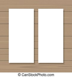Blank banners mock up set on wooden background Vertical...