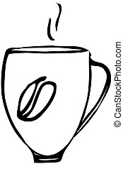 sketch of a porcelain coffee cup - black and white vector...