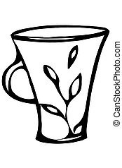 sketch of a porcelain coffee cup
