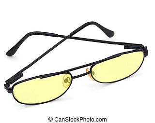 anteojos, con, amarillo, lentes, Dislexia, computadora, uso,...