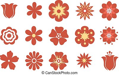 Set of vector flat red flowers. Symbol or icon
