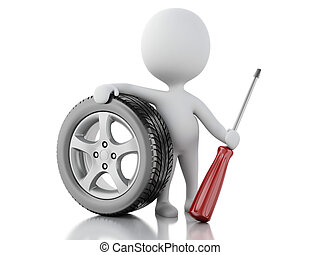 3d white people with wheel car - 3d renderer illustration...