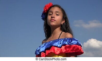 Sassy Girl Wearing Traditional Colombian Dress