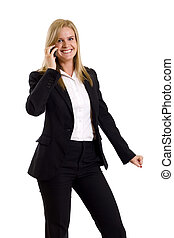 woman calling by cellular phone