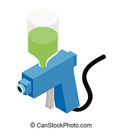 Spray gun isometric 3d icon - Blue spray gun isometric 3d...
