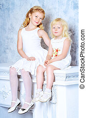angelic sisters - Two angelic sisters in white dresses...