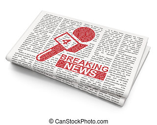 News concept: Breaking News And Microphone on Newspaper background