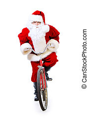 express delivery - Active jolly Santa Claus rides his...