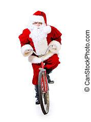 express delivery - Active jolly Santa Claus rides his...