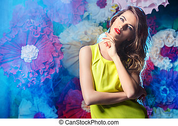 the charm of summer - Fashion shot of a beautiful model...
