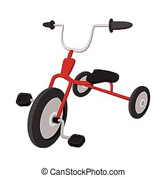 Children red tricycle cartoon icon on a white  background
