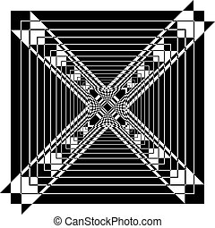 Abstract Multiple Perspective Arabesque negative space black...