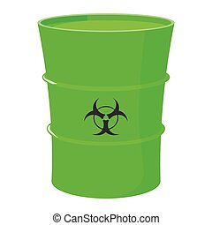 Cartoon barrel with toxic waste on a white background...