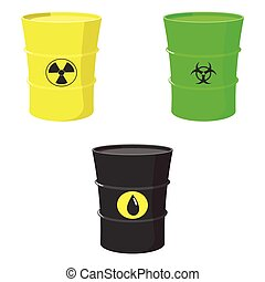 Set barrels oil, toxic and nuclear waste - Cartoon set of...