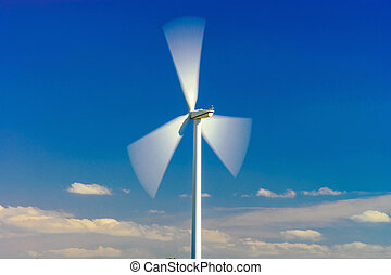 Wind turbines generating electricity in windfarm