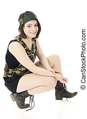 Happy, Squatting Combat Girl - A beautiful girl looking at...