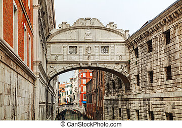 Bridge of sighs in Venice, Italy on an overcast day