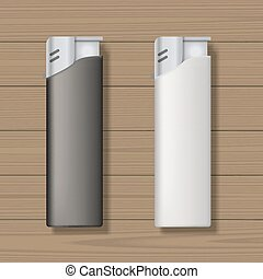 Lighters mock up - Two lighters on wooden background. Blank...