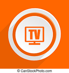 tv orange flat design modern icon for web and mobile app
