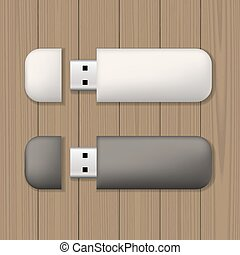 Usb memory sticks mock up - Two usb memory sticks on wooden...