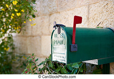 US post mail letter box with red flag - Green US post mail...