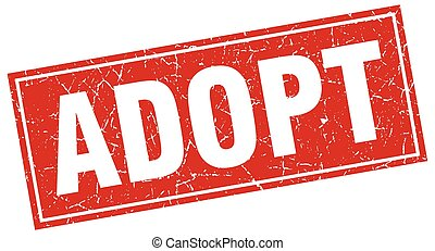 adopt red square grunge stamp on white