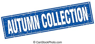 autumn collection blue square grunge stamp on white