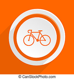 bicycle orange flat design modern icon for web and mobile...