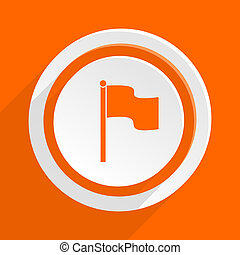 flag orange flat design modern icon for web and mobile app